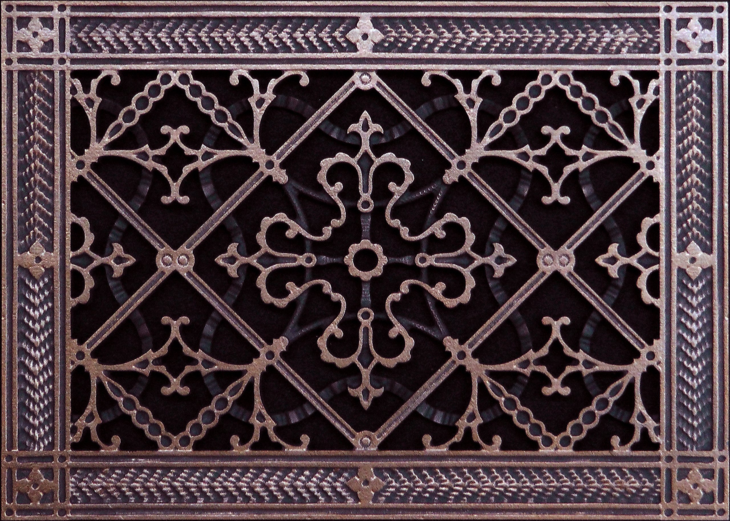 """Decorative Grille, Vent Cover, Register. Made of Resin to fit a 8''x12'' duct or opening. Total size of vent is 10""""x14''x3/8'', for wall & ceiling only (not for floors) Rubbed Bronze"""