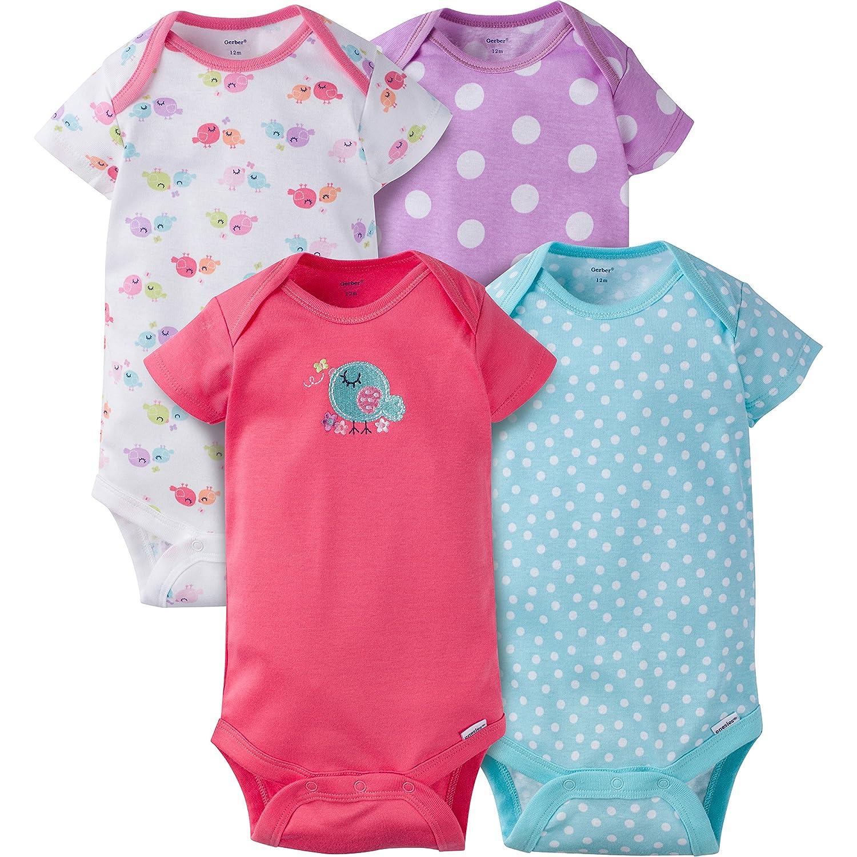 Gerber Baby Girls' 4 Pack Onesies Gerber Children's Apparel