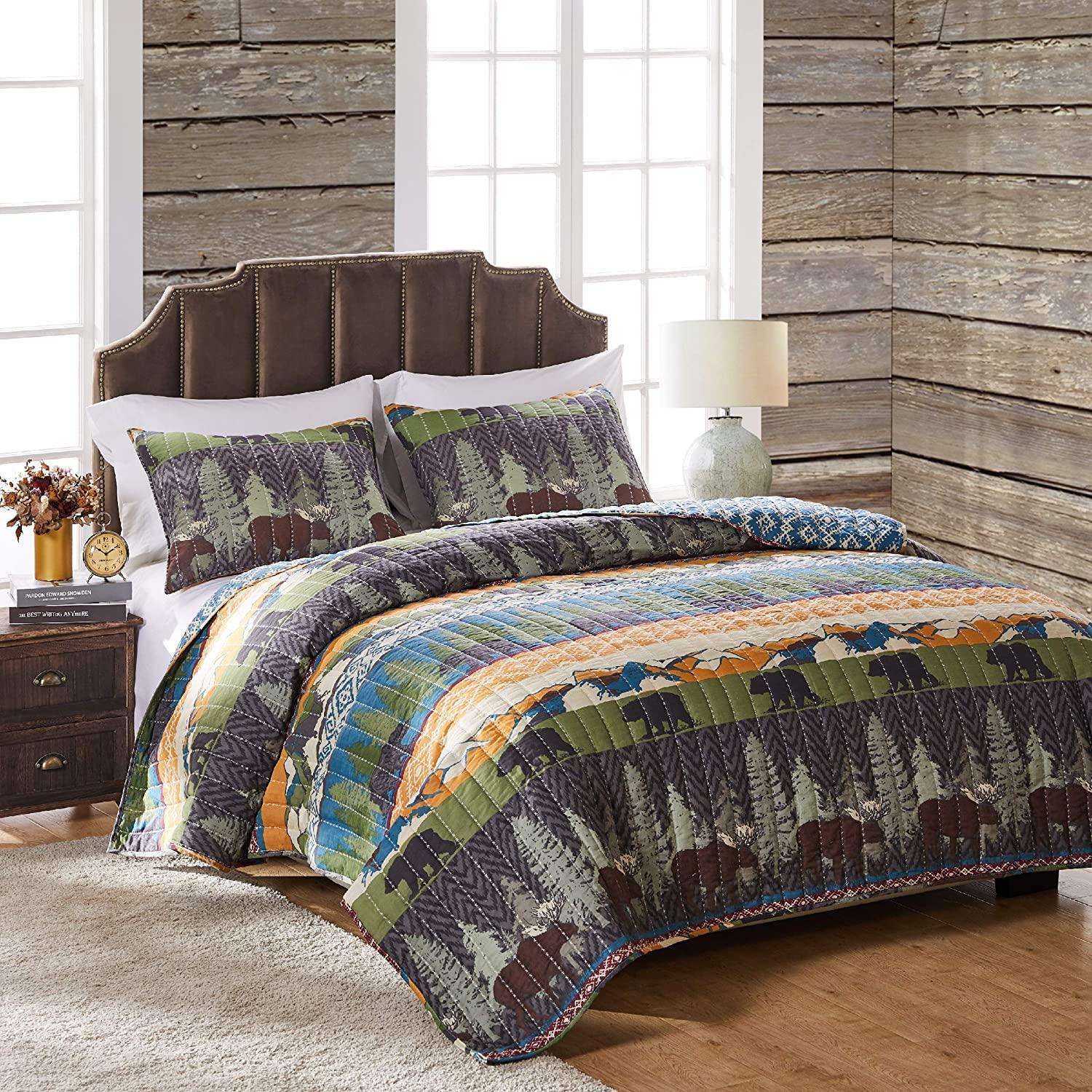 Greenland Home Black Bear Lodge Quilt Set, 2-Piece Twin