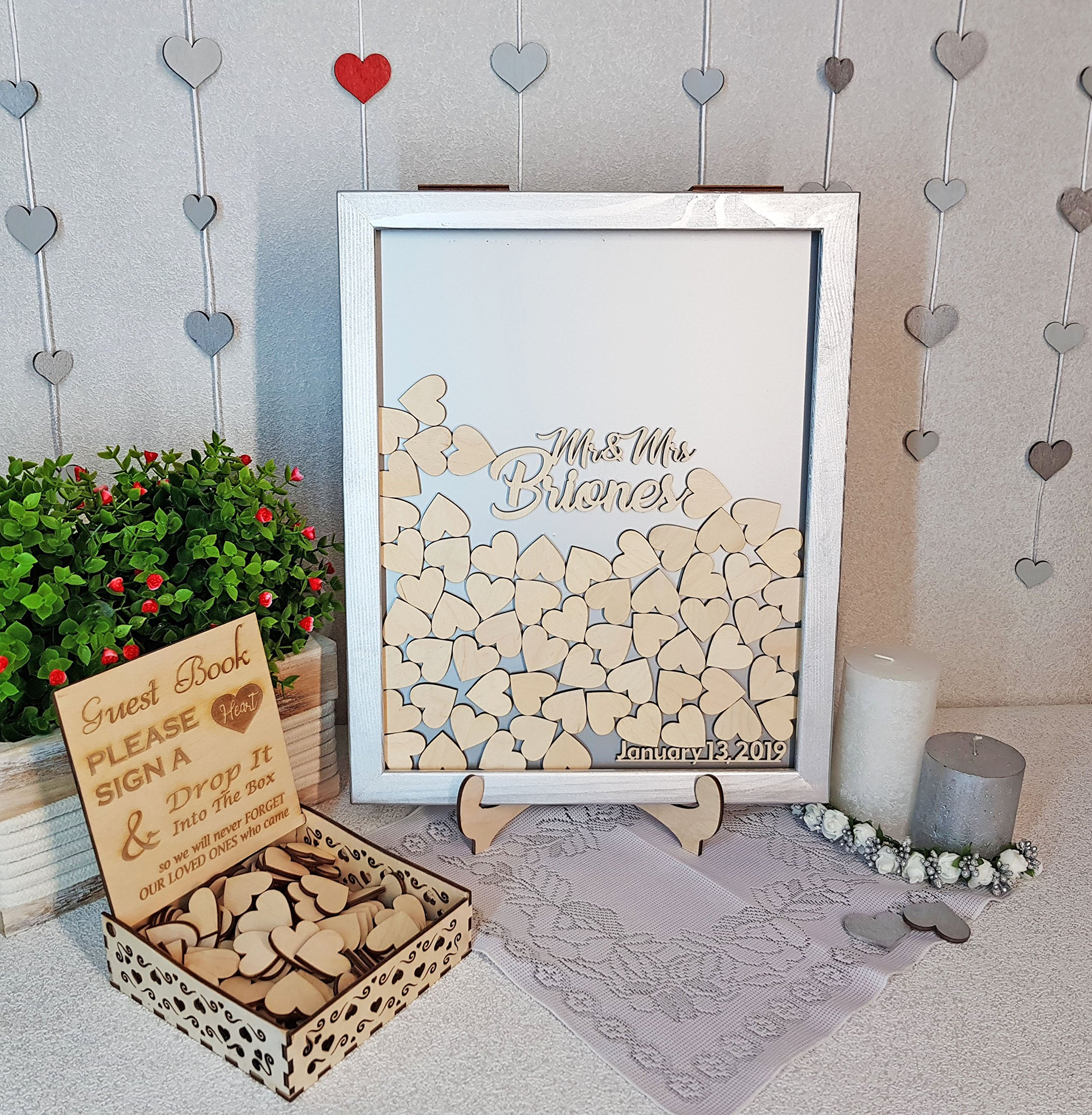PotteLove Wedding Guest Book Alternative Guest Book Personalized Drop Top Box Heart Guestbook Sign Custom Guestbook Memory Box Guestbook White
