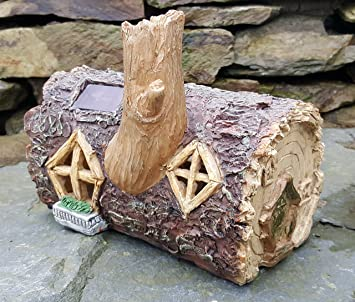 Solar Powered Outdoor Decorative Garden Ornament Fairy House, Colour  Changing Log Home (Lights Up