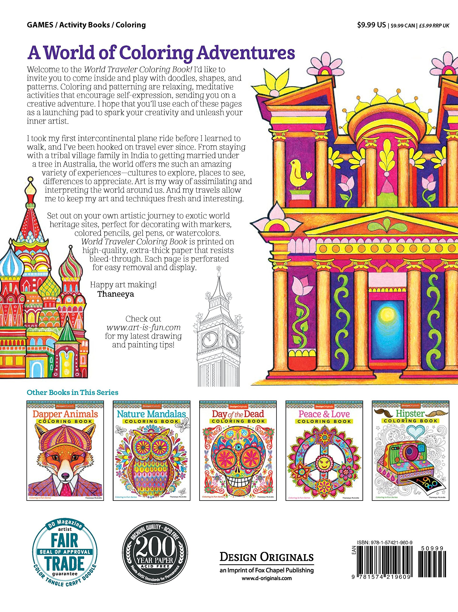 World Traveler Coloring Book 30 Heritage Sites Design Originals Thaneeya McArdle 0499995279728 Amazon Books