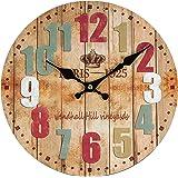 Perla PD Design Orologio da parete orologio da cucina vintage design ca. Ø 28cm, Legno, Paris Color