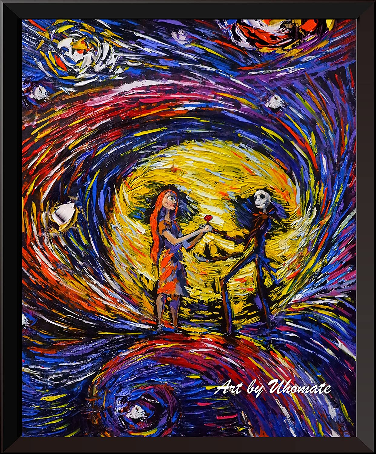 Uhomate Jack and Sally Nightmare Before Christmas Vincent Van Gogh Starry Night Posters Home Canvas Wall Art Baby Gift Nursery Decor Living Room Wall Decor A020 (11X14)