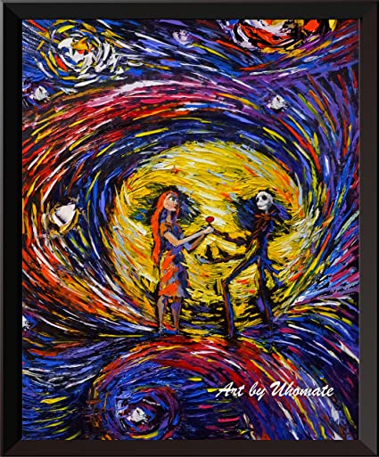 uhomate jack and sally nightmare before christmas vincent van gogh starry night posters home canvas wall