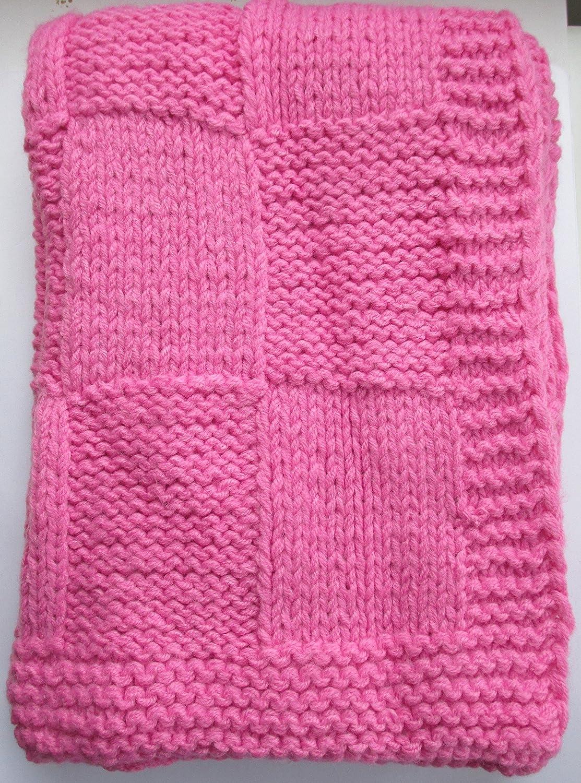 Amazon Babykins Hand Knitted Patchwork Baby Blanket 30x36