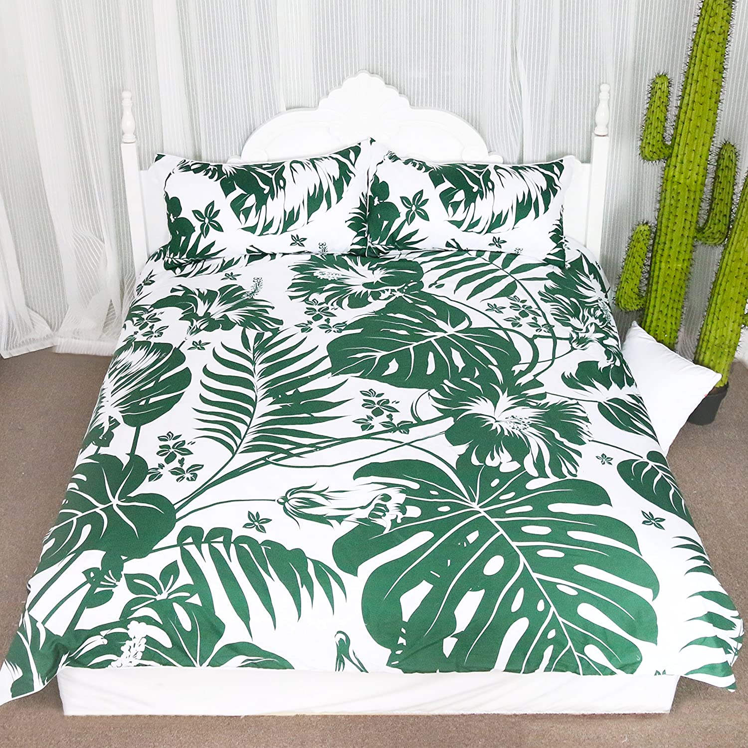 3 Pieces Lightweight Microfiber Duvet Cover Set Monstera Deliciosa Hawaiian Island Tropics Leaves Bedding sets