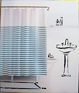 Kate Spade Harbour Stripe Turquoise Blue/White Fabric Shower Curtain