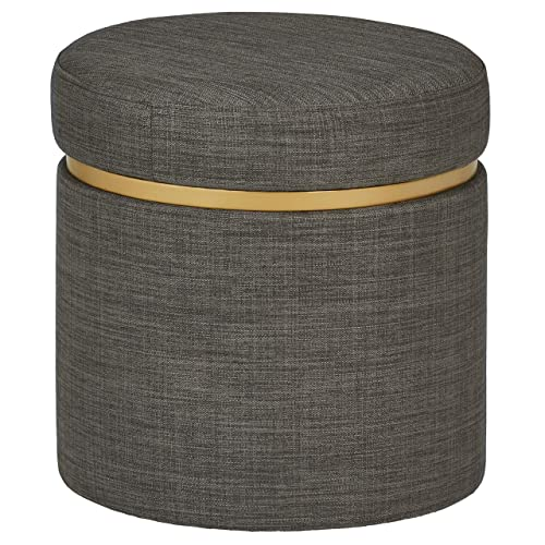 Rivet Asher Modern Storage Ottoman, 15.75 W, Fabric, Dark Grey