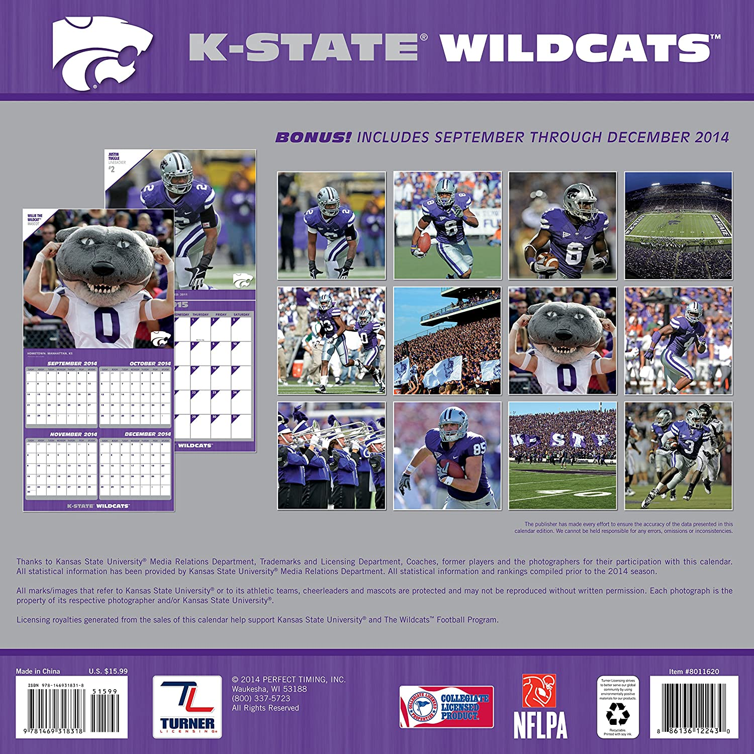 12 x 12 Inches 8011620 Turner Perfect Timing 2015 Kansas State Wildcats Team Wall Calendar