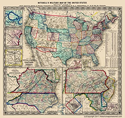 Amazon.com: Civil War Map - Military Map of the U.S ...