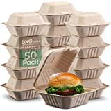 """100% Compostable Clamshell Take Out Food Containers [6x6"""" 50-Pack] Heavy-Duty Quality to go Containers, Natural Disposable Ba"""