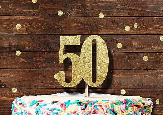 Número 50 Dorado con purpurina decoración para tarta para ...