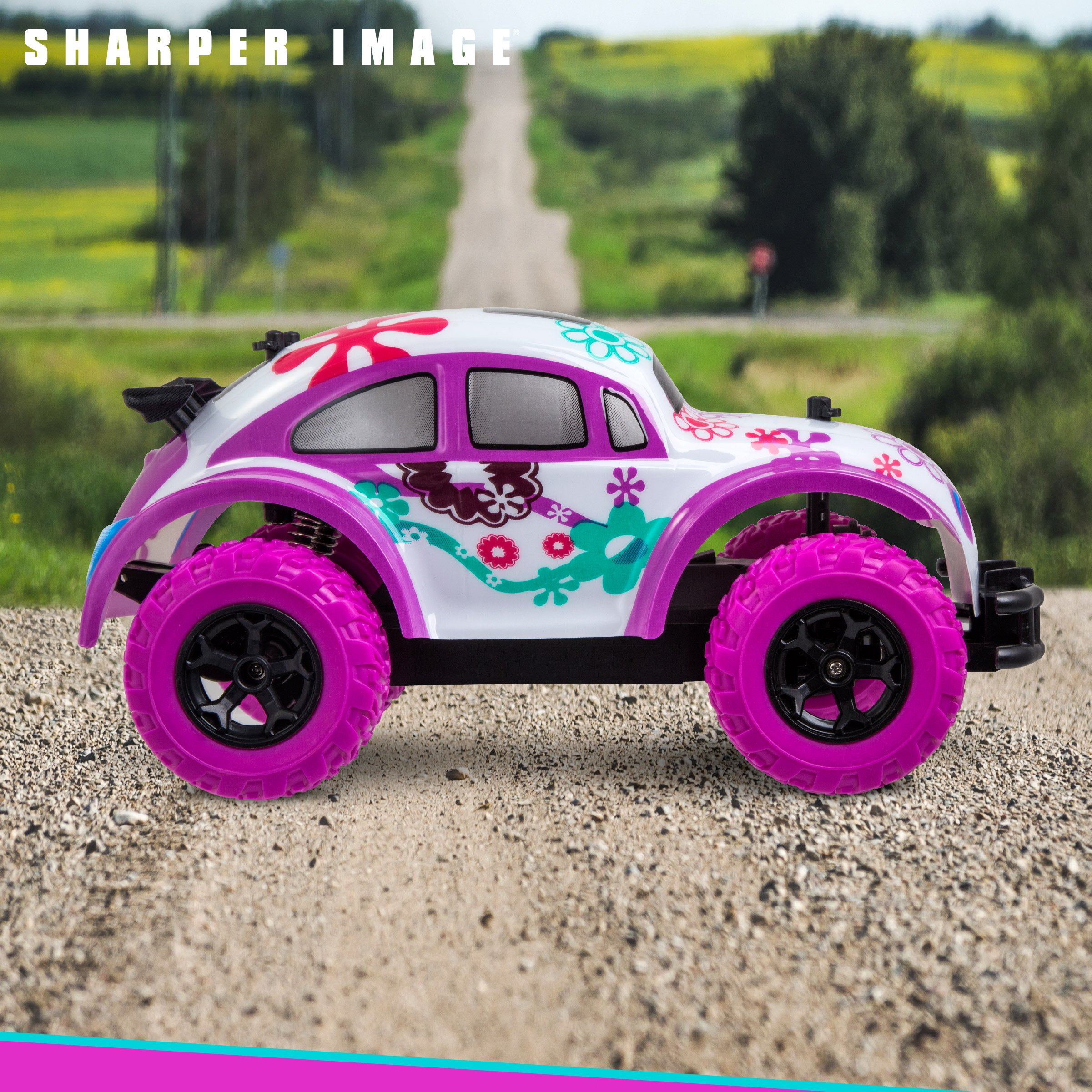 SHARPER IMAGE Pixie Cruiser Pink and Purple RC Remote Control Car Toy for Girls with Off-Road Grip Tires; Princess Style Big Buggy Crawler w/ Flowers Design and Shocks, Race Up to 5 MPH, Ages 6 Year + by Sharper Image (Image #6)
