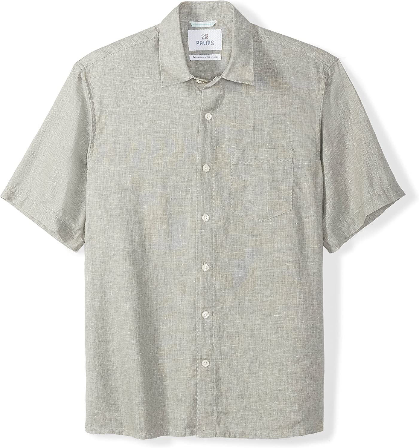 Marca Amazon - 28 Palms Relaxed-fit Short-sleeve 100% Linen Solid Shirt - button-down-shirts Hombre