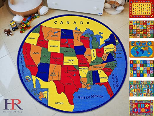Handcraft Rugs Educational Rugs United States Map for School Classroom/Game  Carpets for Kids Toy Kids learning rug Kids Floor Rug