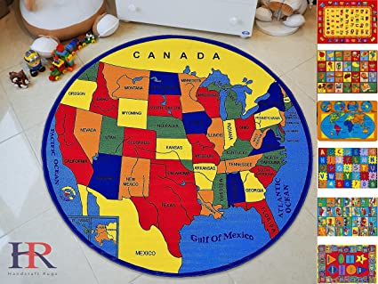 Amazon Com Handcraft Rugs Educational Rugs United States Map For