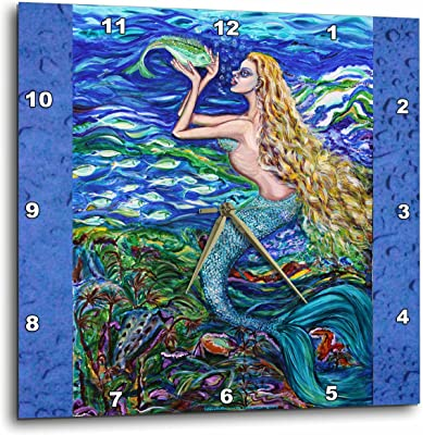 3dRose dpp_54922_3 This is My Tropical Mermaid Caring for Her Pet Fish Beautiful Dream with Very Peaceful Atmosphere Wall Clock, 15 by 15-Inch
