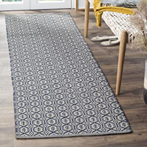 "Safavieh Montauk Collection MTK333B Hand-woven Cotton Runner, 2'3"" x 6', Ivory/Navy"