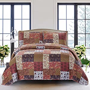 SLPR Red Riches 3-Piece Bedding Quilt Set - King with 2 Shams | Fall Lightweight Quilted Bedspread