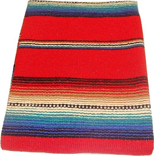 Amazon.com: # 776 rojo Serape falsa fiesta manta tapete de ...