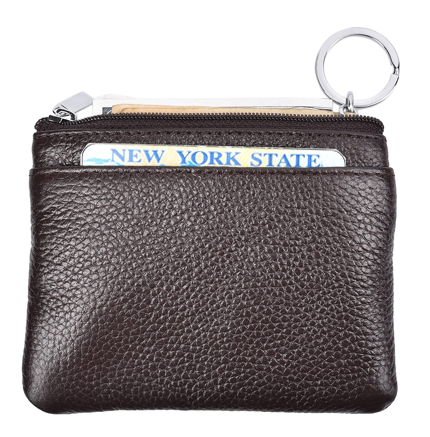 0421ba14850 Yeeasy Womens Mini Coin Purse Wallet Genuine Leather Zipper Pouch with Key  Ring (Coffee)  Amazon.ca  Shoes   Handbags