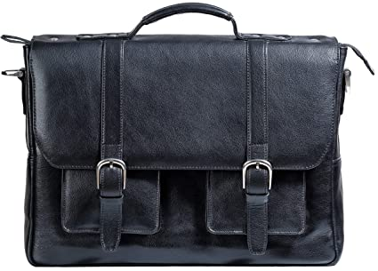 d6ba92c86d26 Ladderback Leather Briefcase for Men, Gordon, Full-Grain Leather Messenger  Laptop Bag, 15 inch by 11.5 inch by 3.5 inch (Black)