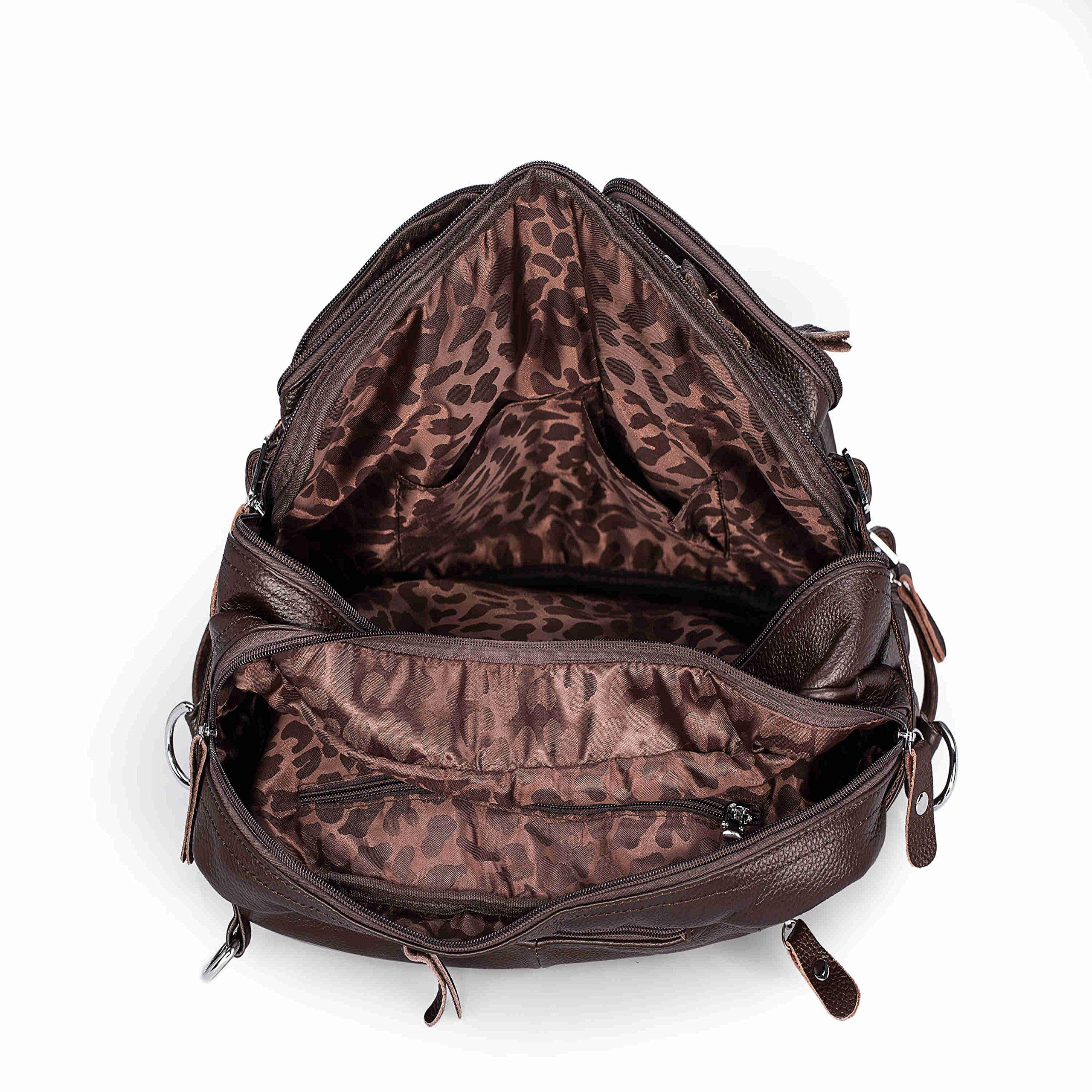 UBaymax Men Real Leather Laptop Briefcase Backpack Shoulder Messenger Tote Bag Coffee