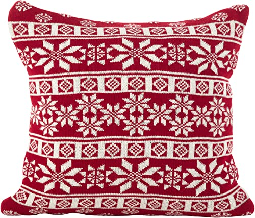 SARO LIFESTYLE Winter Snowflake Nordic Design Poly Filled Throw Pillow, 18 , Red
