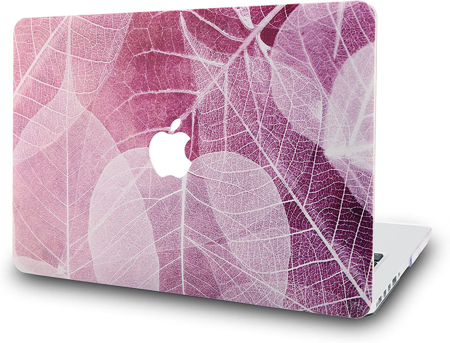 """KECC Laptop Case for MacBook Air 13"""" Retina (2020/2019/2018, Touch ID) Plastic Case Hard Shell Cover A2179/A1932 (Leaf - Pink)"""