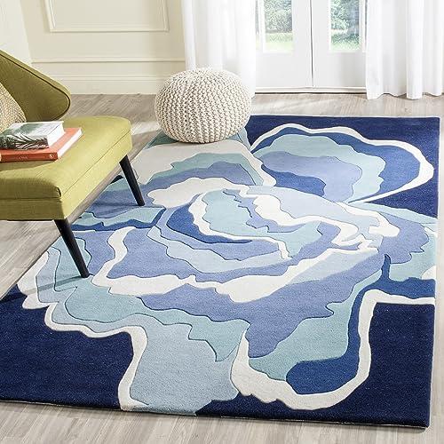 Safavieh Allure Collection ALR128A Handmade Mediterranean and Blue Premium Wool Area Rug 4' x 6'
