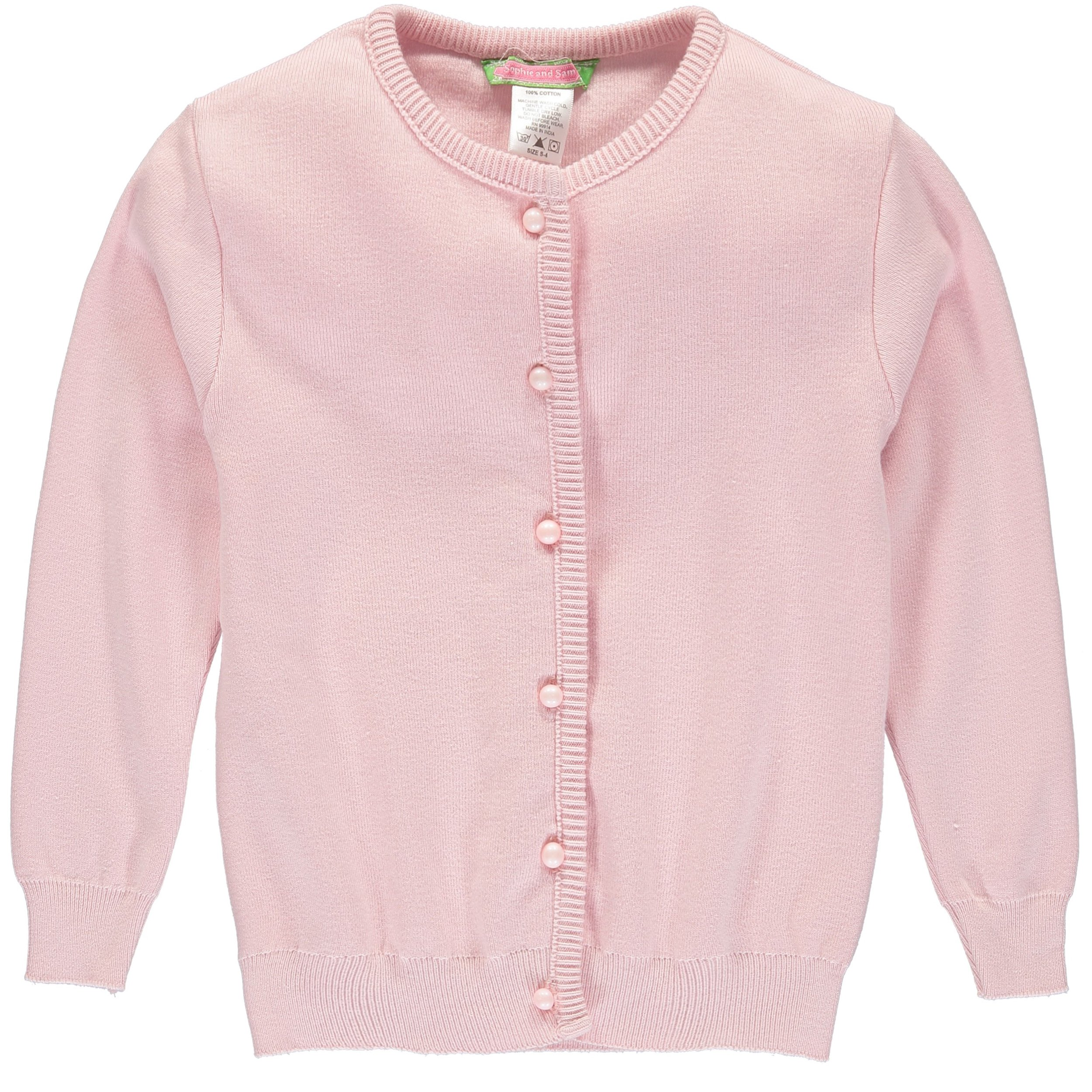 Sophie and Sam Girls' Soft Knit Cardigan Sweater (4T, Pink)