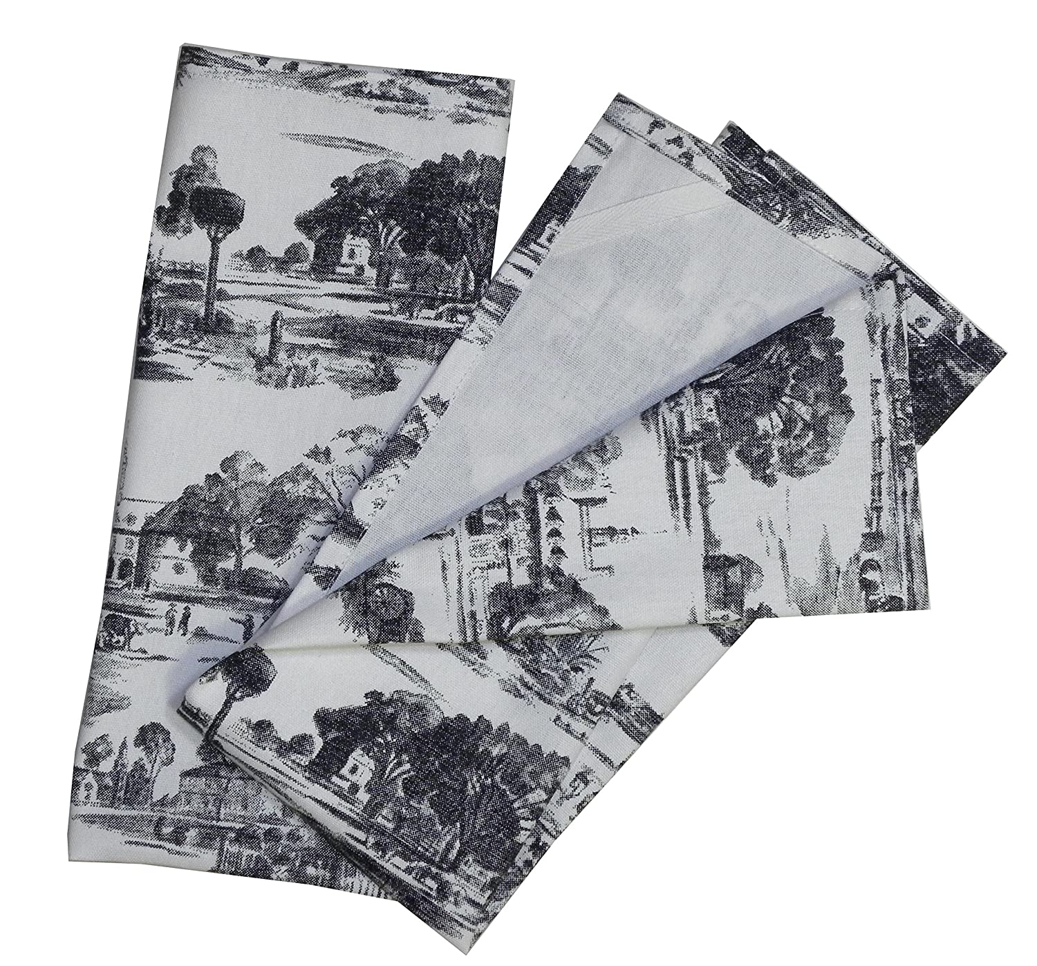 Toile French Country Dish Towel, Set of 2, Black