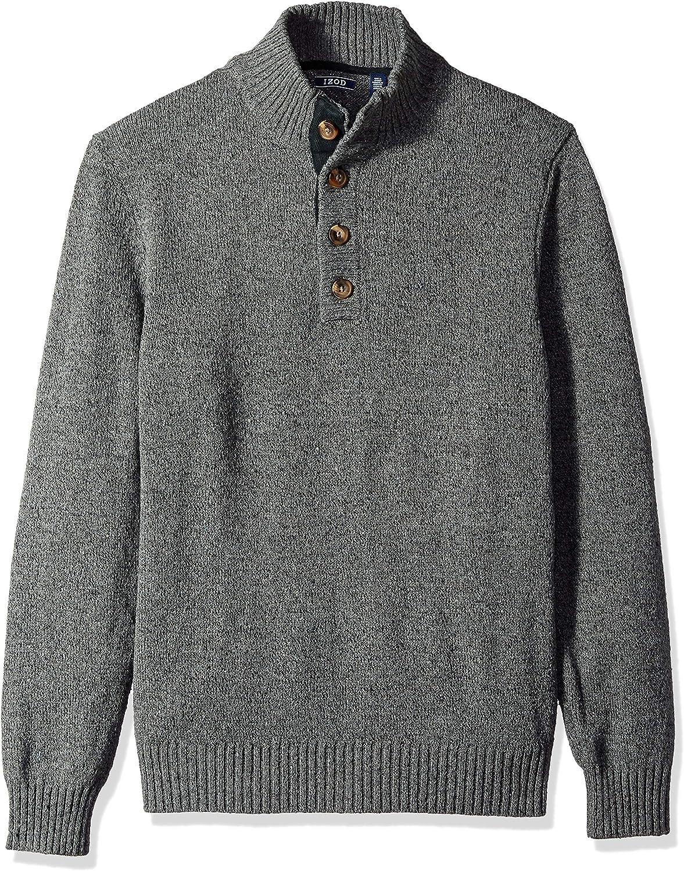 IZOD Mens Buttoned Mock Neck Solid 7 Gauge Sweater