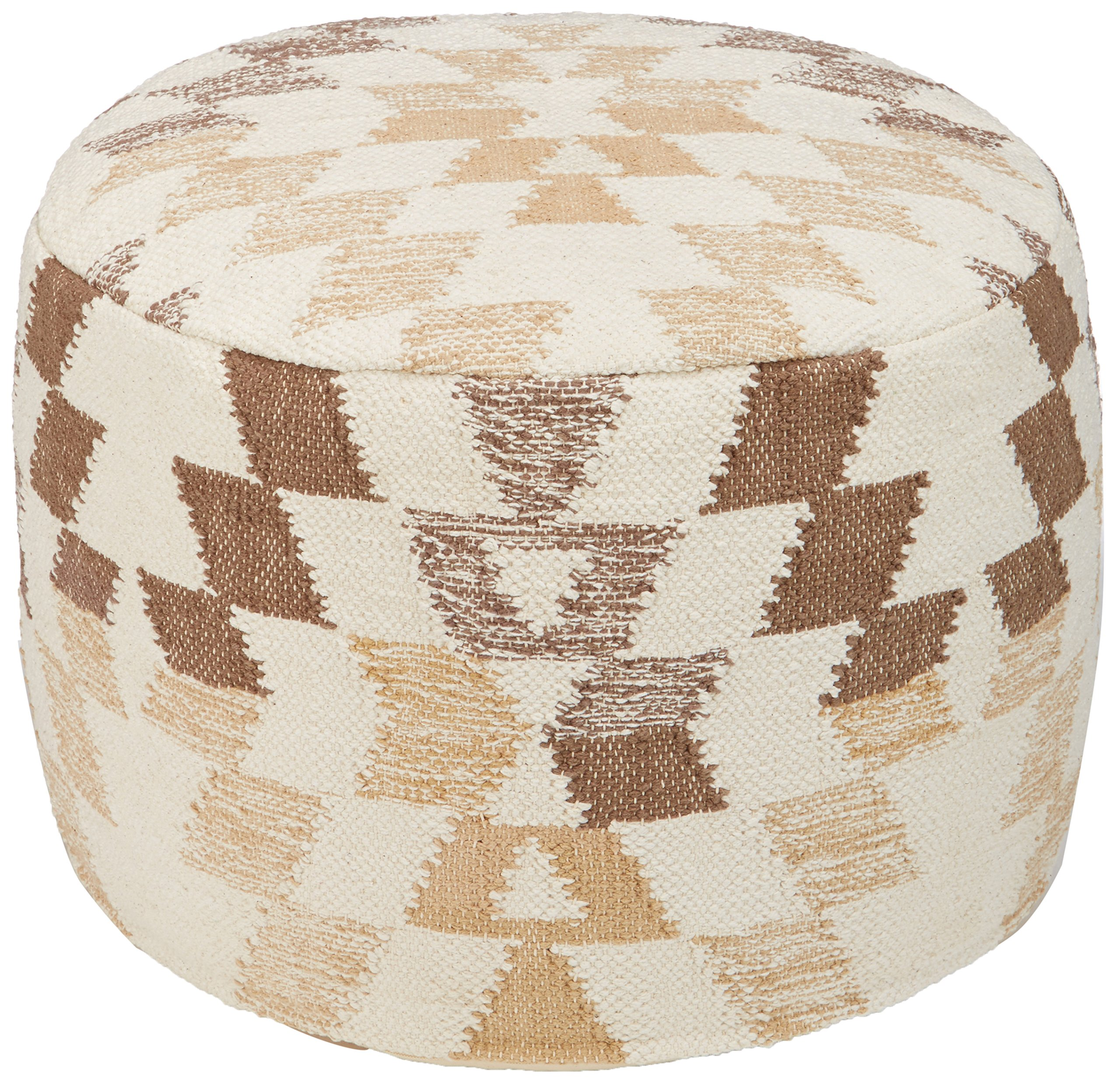 Ashley Furniture Signature Design - Abraham Pouf - Handmade - Imported - Traditional - White and Brown by Signature Design by Ashley (Image #1)