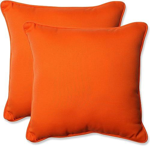 Pillow Perfect Outdoor Indoor Sundeck Throw Pillows, 18.5 x 18.5 , Orange, 2 Pack
