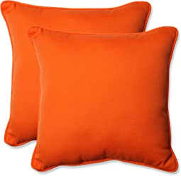 Pillow Perfect Outdoor Sundeck Corded Throw Pillow, 18.5-Inch, Orange, Set of 2
