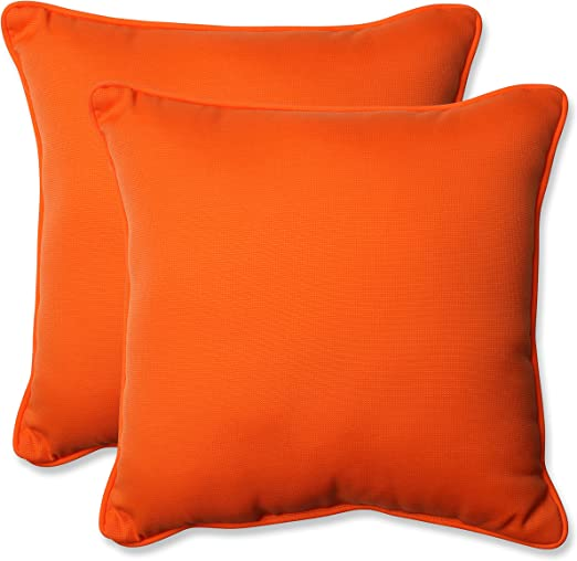 Amazon Com Pillow Perfect Outdoor Indoor Sundeck Throw Pillows 18 5 X 18 5 Orange 2 Pack Home Kitchen