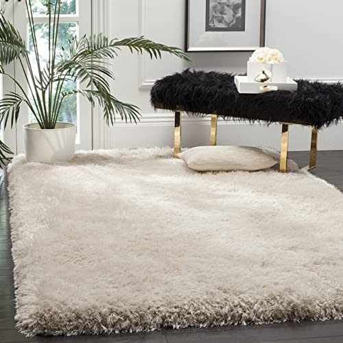Safavieh Luxe Shag Collection SGX160B Handmade Bone Polyester Area Rug 4 x 6