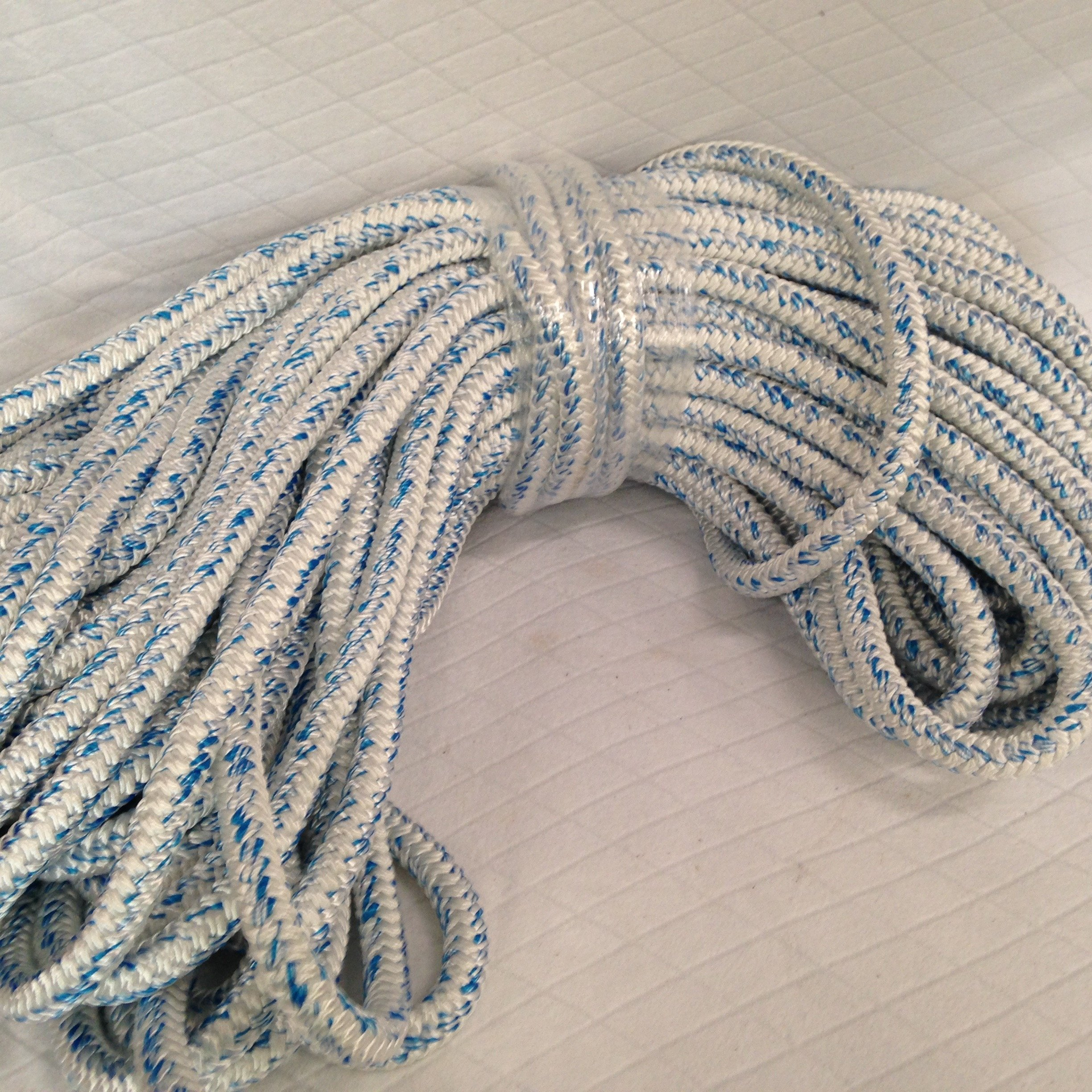 3/4'' By 200 Feet 12 Carrier, 24 Strand Polyester Arborist Bull Rope, White/Blue by Blue Ox Rope (Image #1)