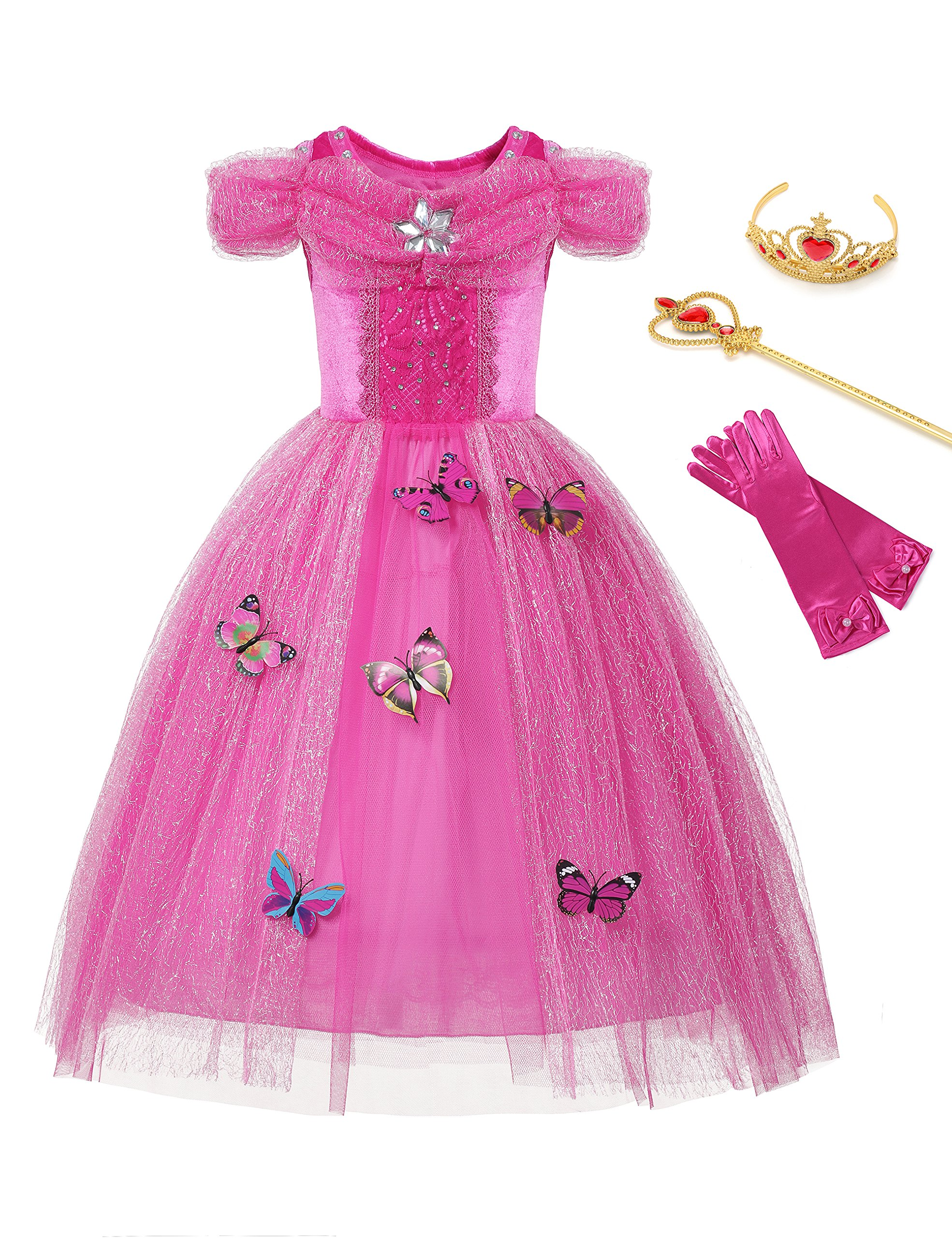 aibeiboutique New Dresses Butterfly Princess Fancy Dress for Little Girls Costume Cosplay (8-9 Years, Pink)