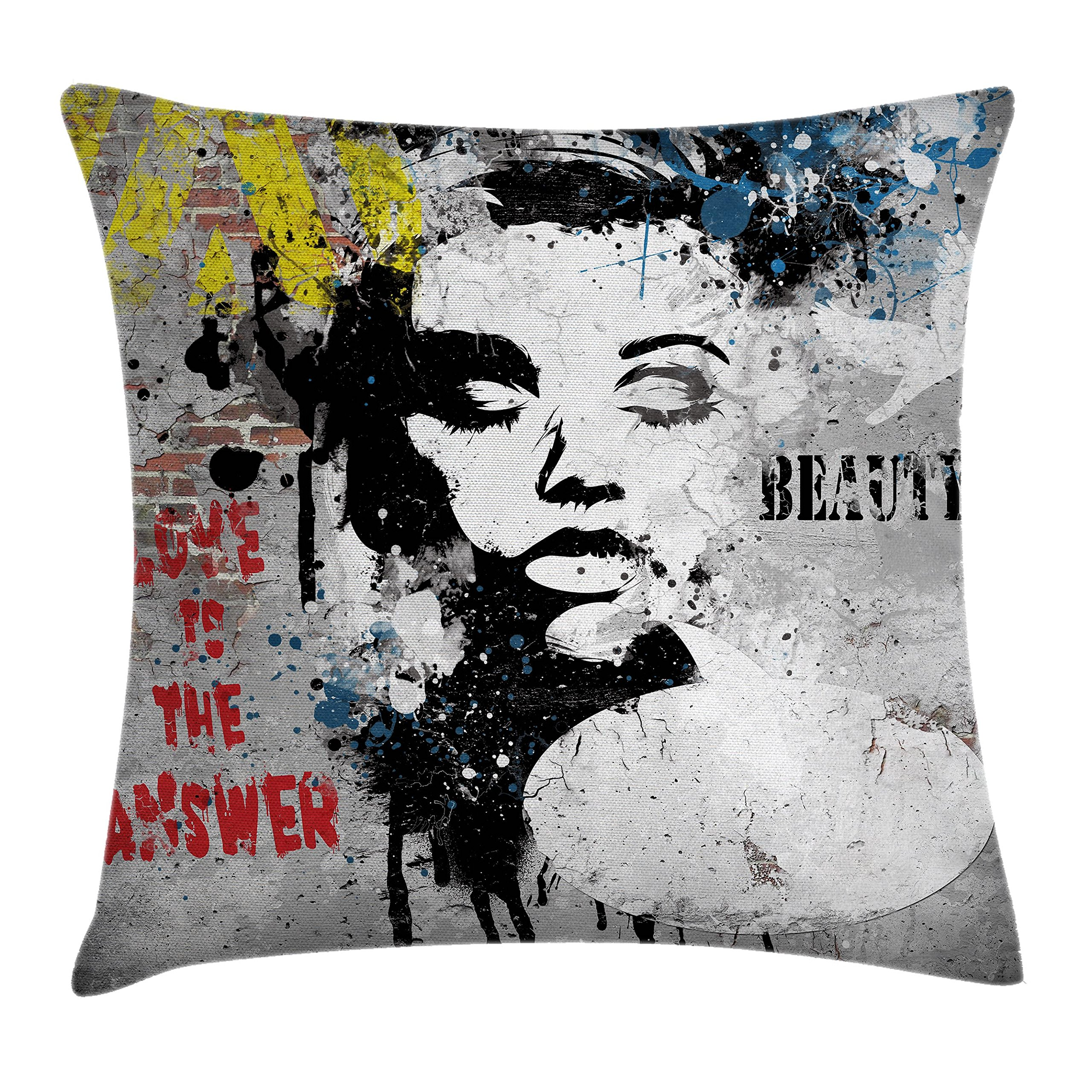 Ambesonne Graffiti Decor Throw Pillow Cushion Cover by, Modern Grunge Wall with a Girl and Quotes Casual Youth Urban Fashion Print, Decorative Square Accent Pillow Case, 24 X 24 Inches, Grey Yellow