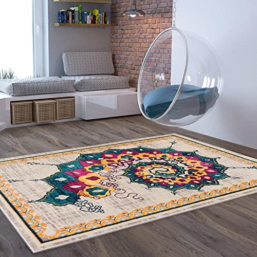 Alba Modern Distressed Area Rug 7 10 x 9 10 Bohemian Transitional Eclectic Rug Soft Living Dining Room Multi Color Carpet