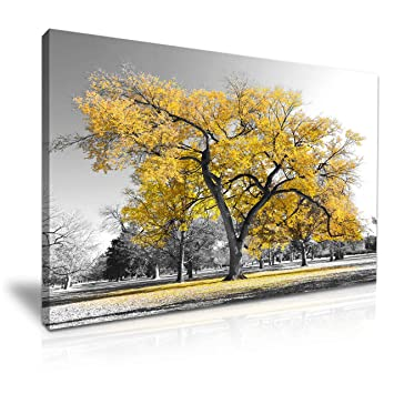 Large Tree Yellow Leaves Nature Canvas Wall Art Picture Print 76cmx50cm:  Amazon.co.uk: Kitchen U0026 Home