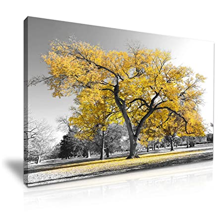 Large Tree Yellow Leaves Nature Canvas Wall Art Picture Print ...