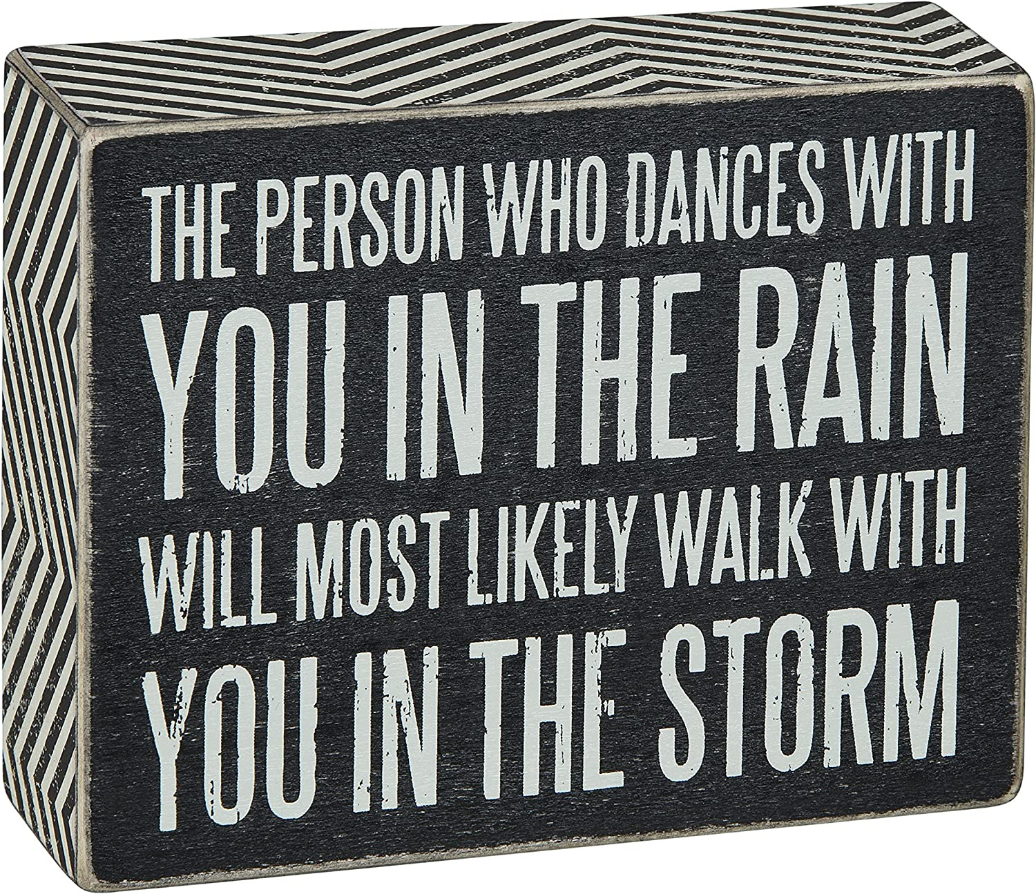 Primitives by Kathy Chevron Trimmed Box Sign, 5 x 4-Inches, Walk in The Storm