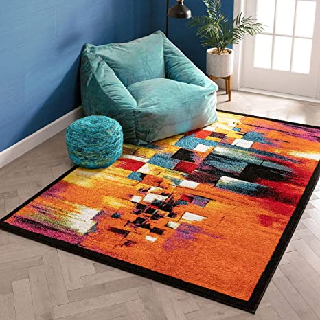 Amazon Com Champlain Multi Cubes Yellow Orange Blue Modern Abstract Painting Area Rug 8x10 7 10 X 9 10 Easy Clean Stain Resistant Shed Free Contemporary Art Boxes Square Geometric Line Stripe Thick