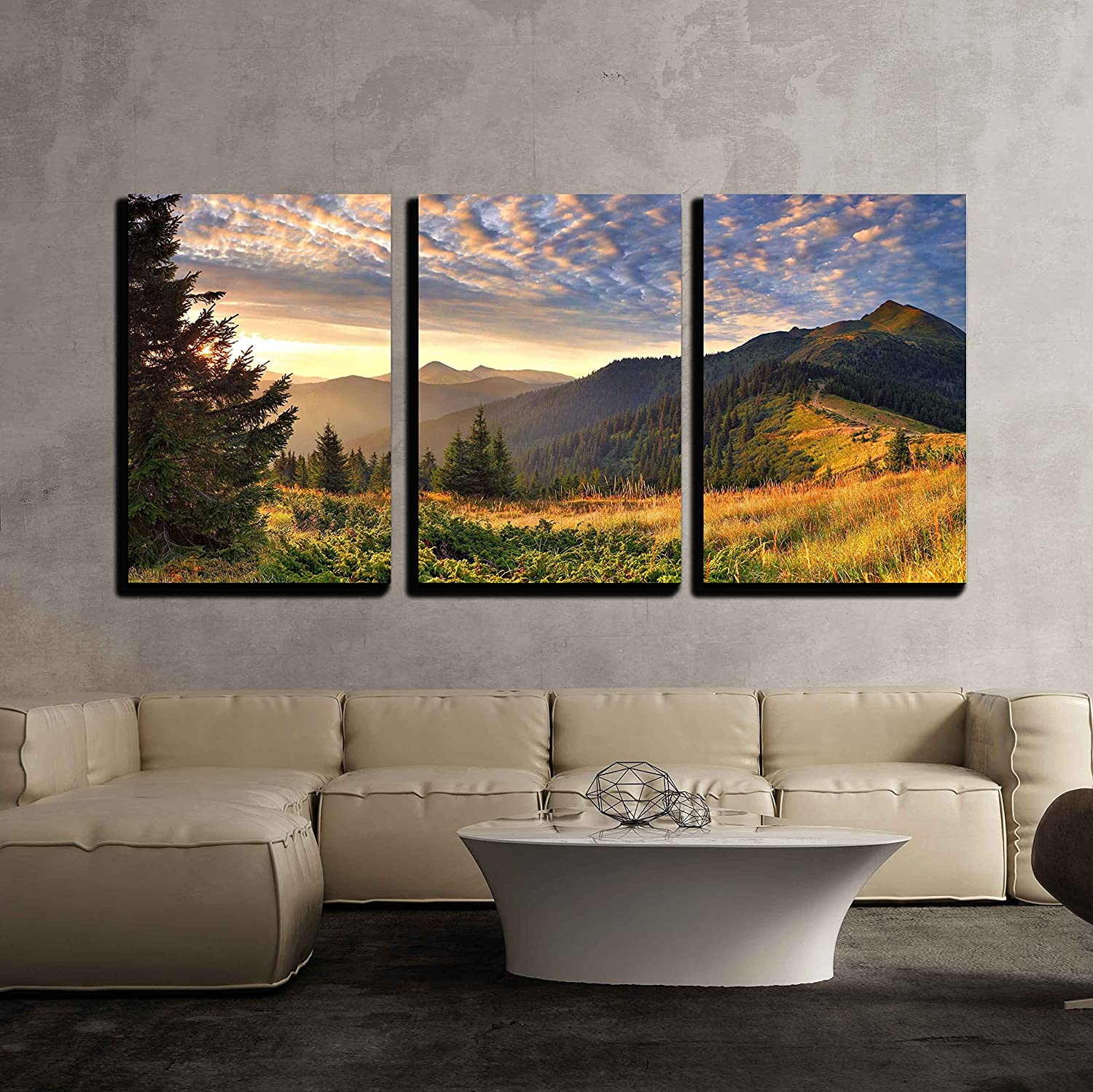 "wall26 - Sunrise in The Mountains - Canvas Art Wall Art - 16""x24""x3 Panels"