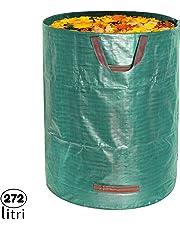 1x Sacco da Giardinaggio Professionale per rifiuti da Giardino Verdi con 4 maniglie, 272 L 76x67 cm, Polipropilene (PP) 150 gr/m², Resistente, Antistrappo, Idrorepellente, Riutilizzabile, Pieghevole