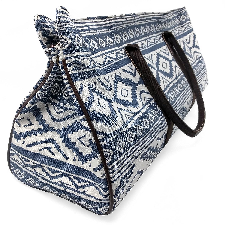 Kindfolk Yoga Mat Tote Bag Carrier Patterned Canvas with Pocket and Zipper